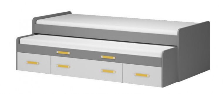 Klasická postel Diego 18 - Postel (přední strana bílá/šedé boky/žlutý úchyt)