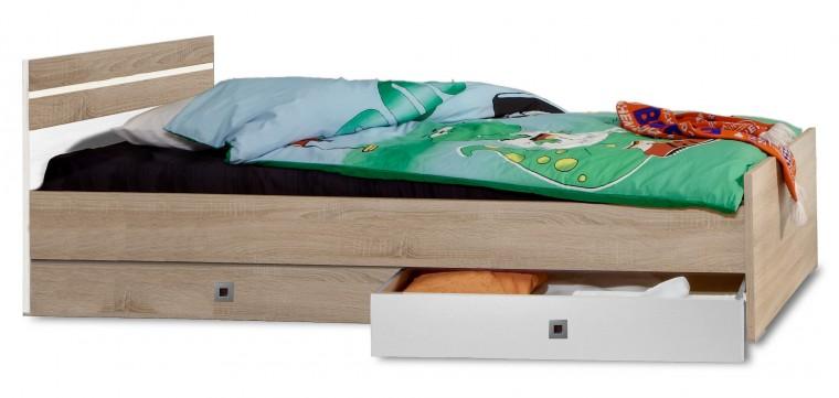 Klasická postel Game - Postel, 90x200, úložný prostor (bílá, dub)