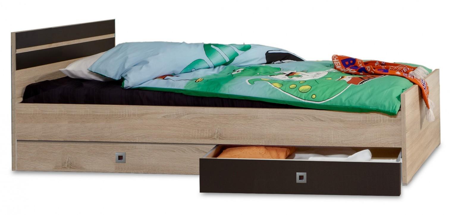 Klasická postel Game - Postel, 90x200, úložný prostor (dub, černá)