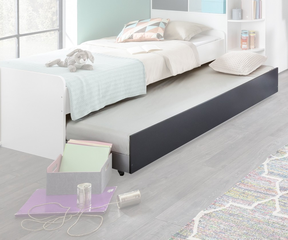 Klasická postel Joker - Přistýlka pod postel (bílá, antracit)