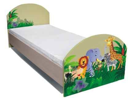 Klasická postel Junior - Postel, džungle 16 (bříza/zelená)