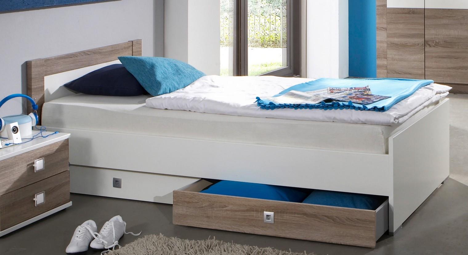 Klasická postel Kira-324299(alpská bílá / dub montana)
