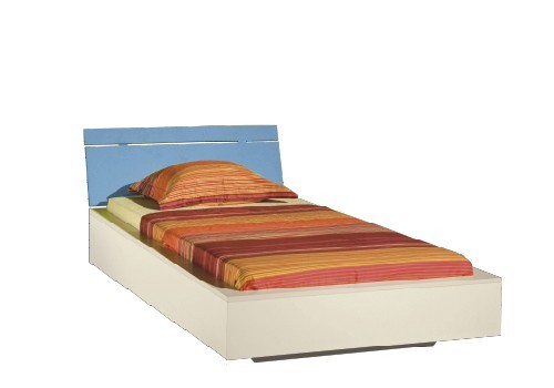 Klasická postel LABYRINT LA 22 (krémová/modrá)