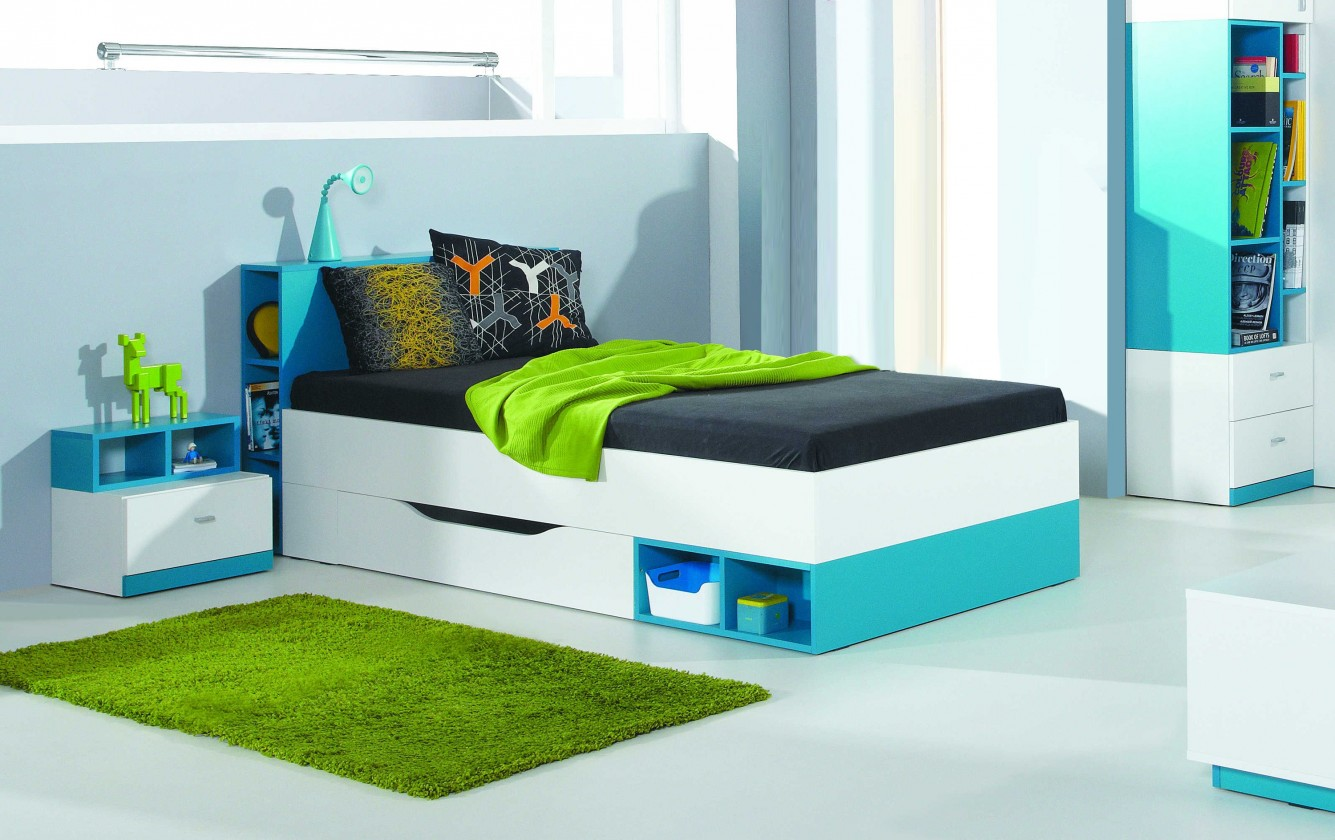 Klasická postel MOBI MO 18 (bílá lesk/tyrkysová)