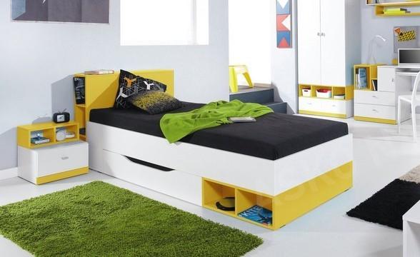 Klasická postel MOBI MO 18 (bílá lesk/žlutá)