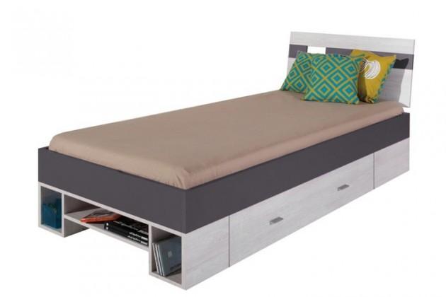 Klasická postel NEXT NX 19 (borovice/šedá)