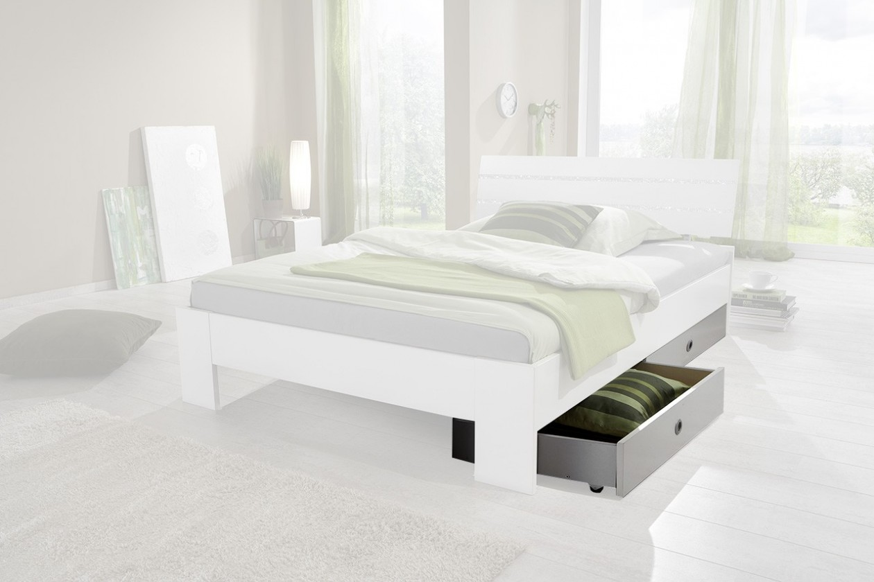 Klasická postel Nightlight - Úložný prostor k posteli (bílá, křišťálové kamínky)