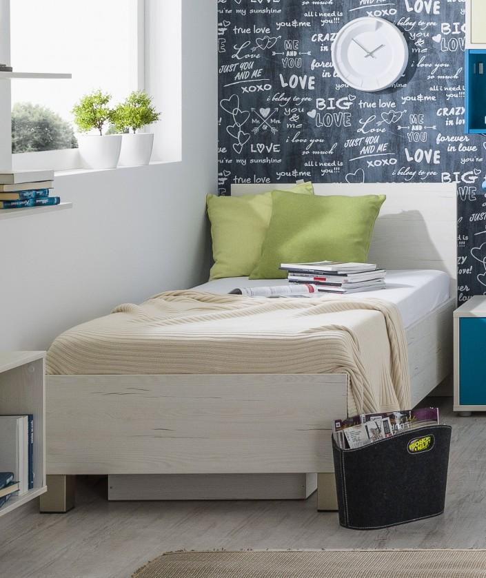 Klasická postel Pine Aurélio - Postel 90x200, úložný prostor (bílá)