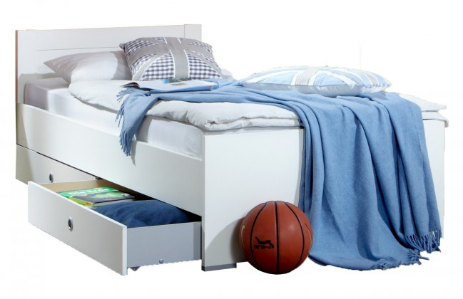 Klasická postel Postel Filou - 90x200 cm s úložným prostorem (alpská bílá)