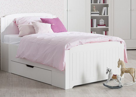 Klasická postel Postel Santorini - 120x200 cm, úložný prostor (bílá arctic)