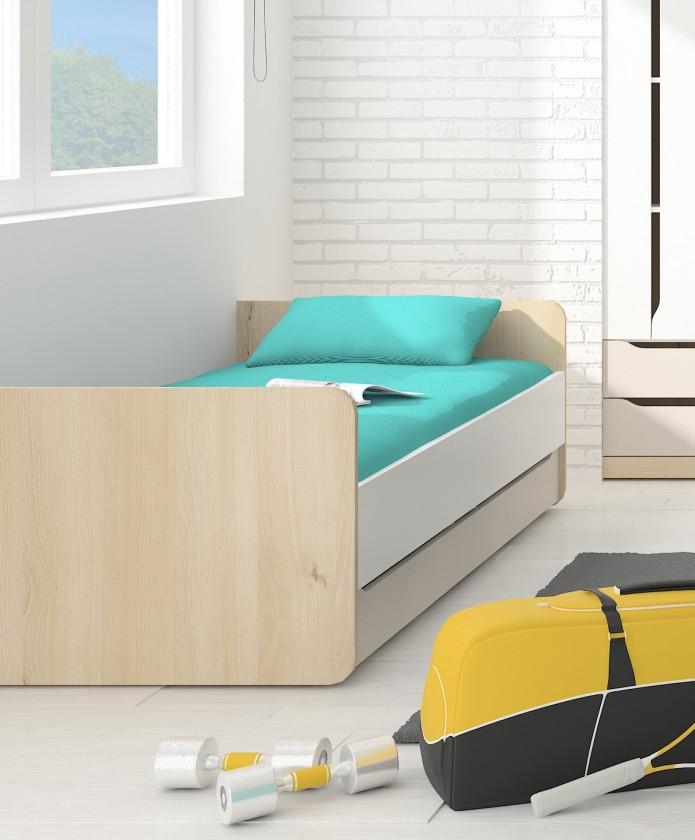 Klasická postel Postel Smart - 90x200cm (buk ibsen/bílá/champagne)