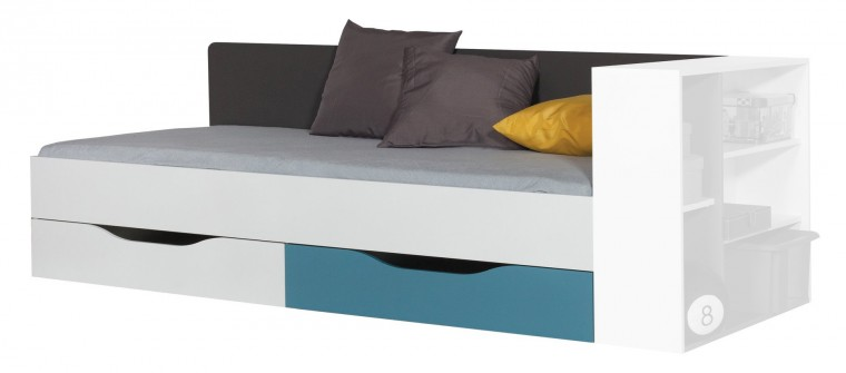 Klasická postel Postel Tablo - 90x200 cm, rošt (grafit/bílá lesk/atlantic)