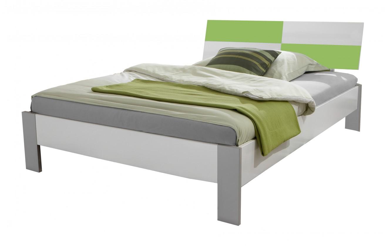 Klasická postel Sunny - Postel, 140x200cm (alpská bílá se zeleným jablkem)