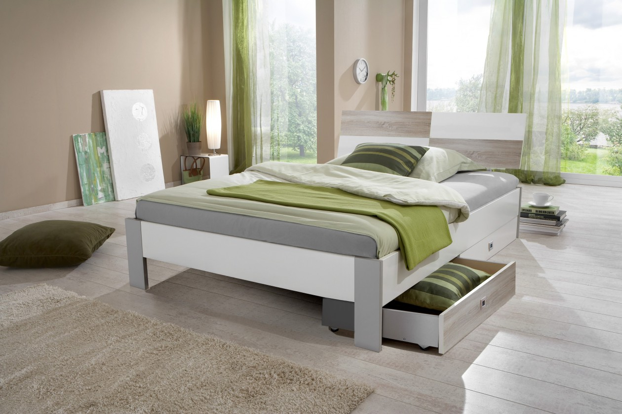 Klasická postel Sunny - Postel s úložným priestorom, 140x200cm (dub, alpská bílá)