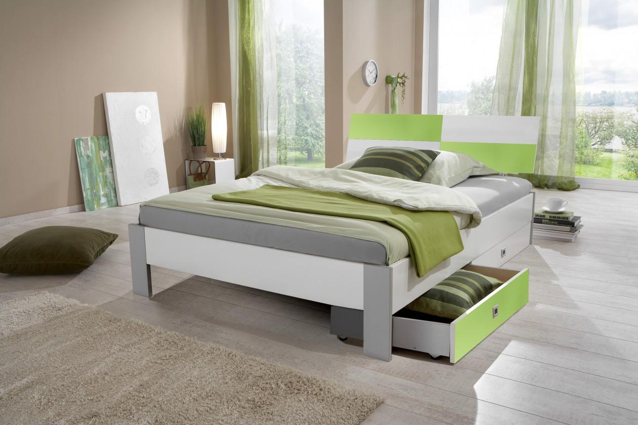 Klasická postel Sunny Postel, úložný prostor, 140x200 (bílá se zeleným jablkem)