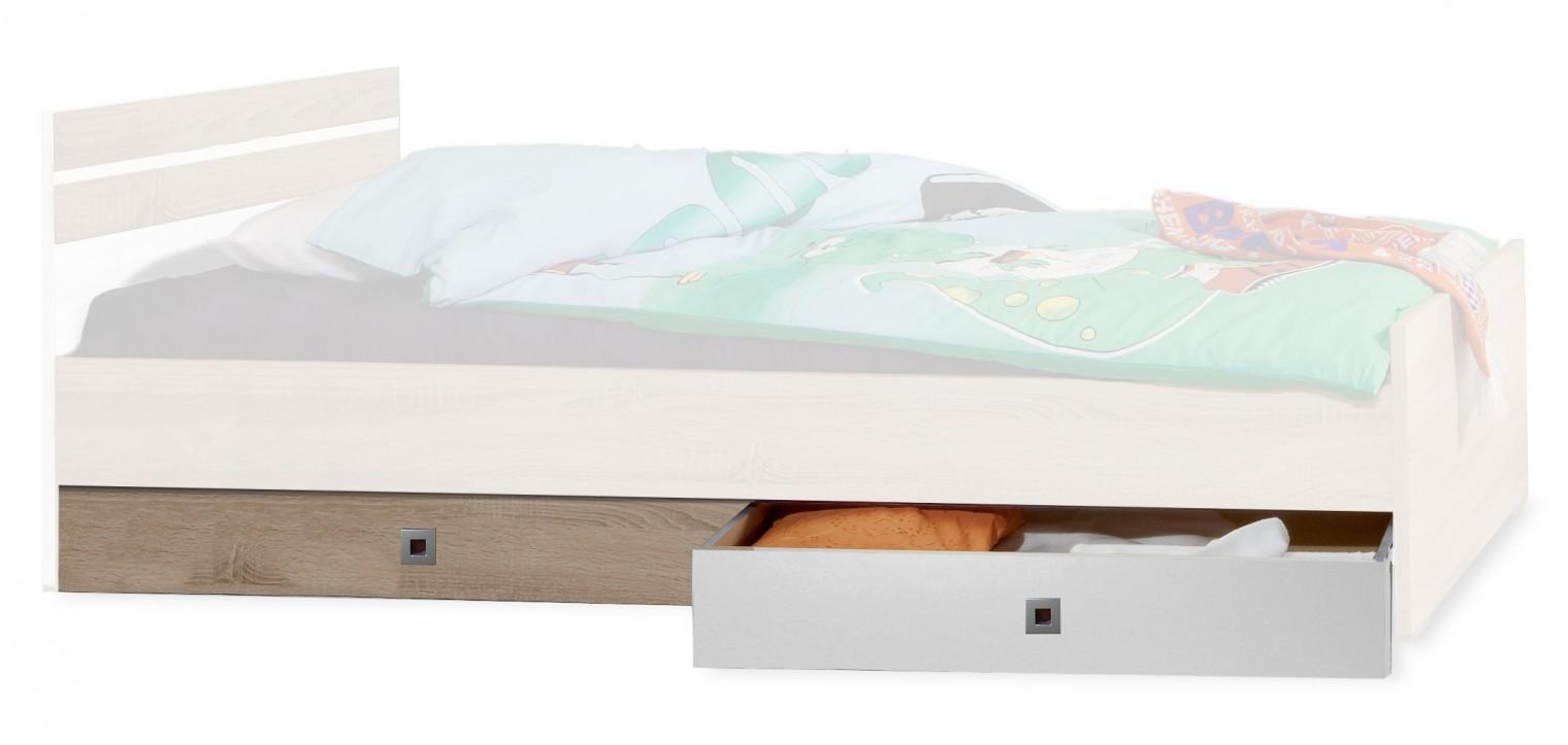 Klasická postel Úložný prostor pod postel Game (bílá, dub)
