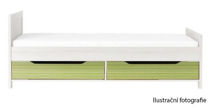 Klasická postel Úložný prostor pod postel Monza - CD 16 (višeň cornvall/zelená)