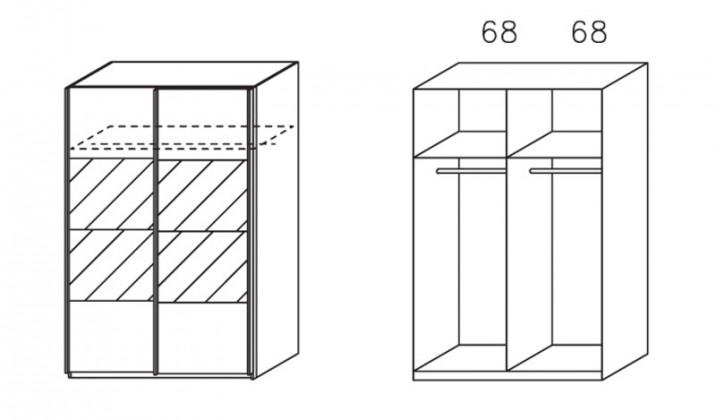 Klasická skříň Apulien - s posuvnými dveřmi, 2 dveře