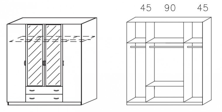 Klasická skříň Case (Horský javor/Alu)