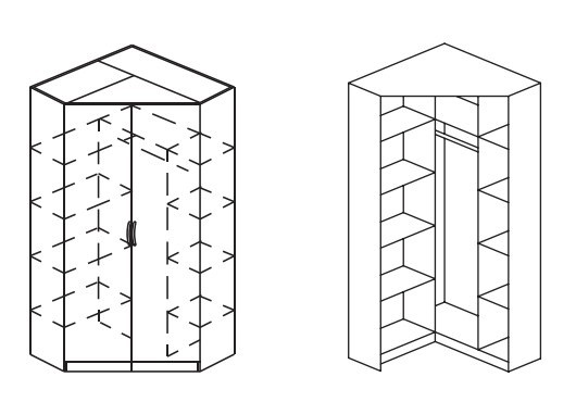 Klasická skříň Case, rohová (Alpská bílá)