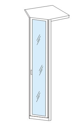 Klasická skříň Cassanova - Rohový prvek (dub bardolino/zrcadlo)