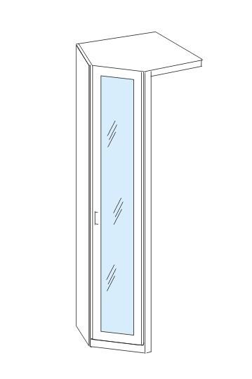 Klasická skříň Cassanova - Rohový prvek, koncový (dub bardolino/zrcadlo)