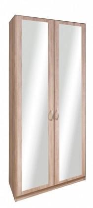 Klasická skříň Cassanova - Šatní skříň, 2x dveře se zrcadlem (dub bardolino)