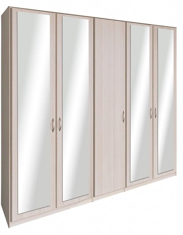 Klasická skříň Cassanova - Šatní skříň (4x dveře se zrcadlem, jasan coimbra)