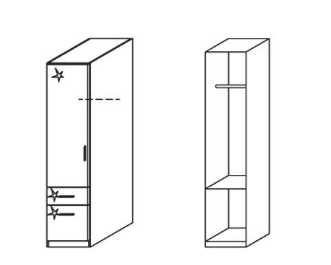 Klasická skříň Celle, 1x dveře, levá