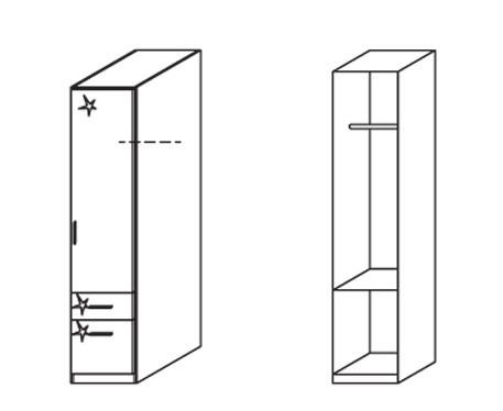 Klasická skříň Celle, 1x dveře, pravá