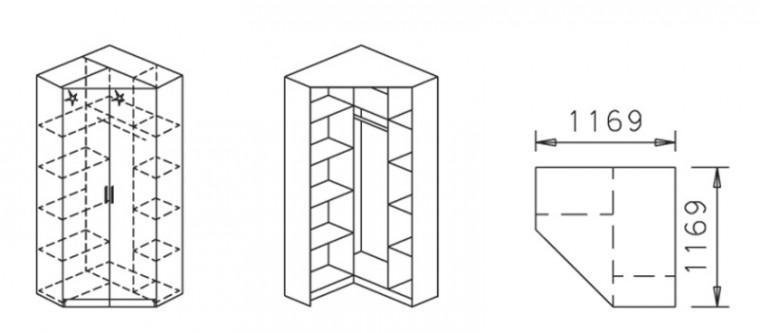 Klasická skříň Celle, 2x dveře