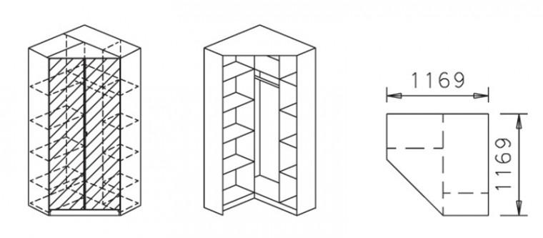 Klasická skříň Celle, 2x dveře se zrc.