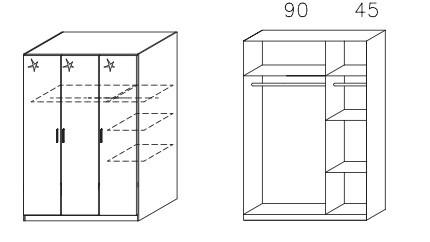 Klasická skříň Celle AM625.0EL1 (dub sonoma / bílá lesk)