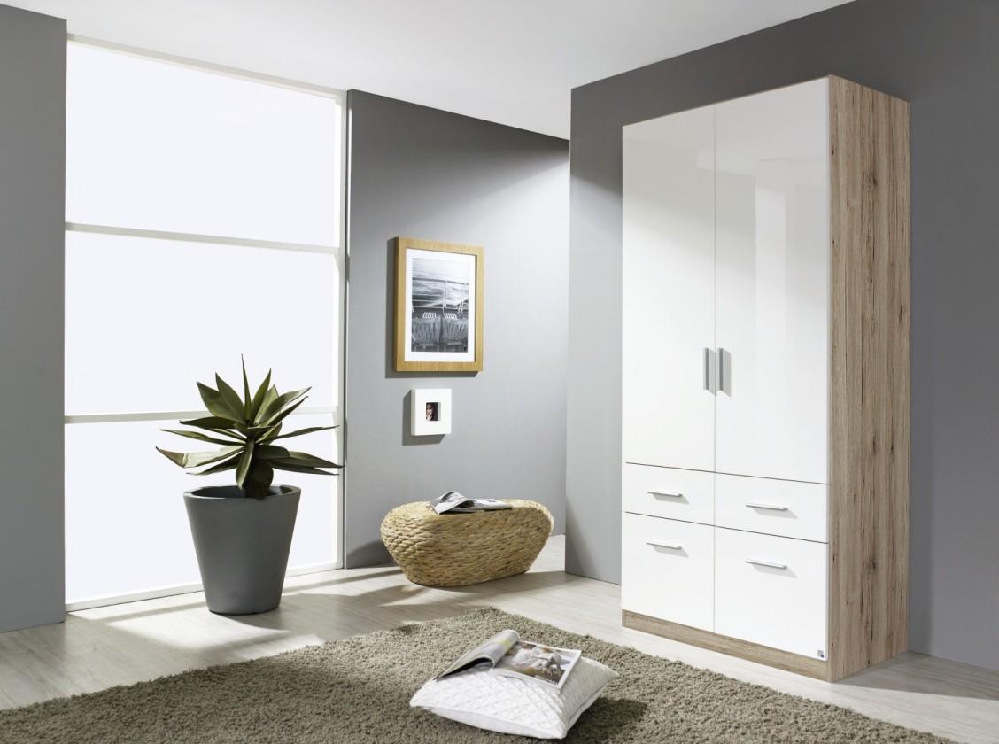Klasická skříň Celle AP455.3120 (dub sanremo světlý / bílá lesk)