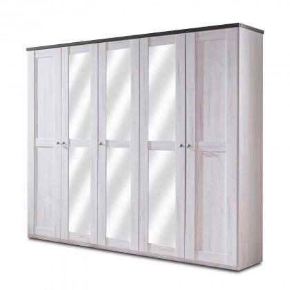 Klasická skříň Chateau - skříň, 5x dveře, 3x police (dub bílý/lava černá)