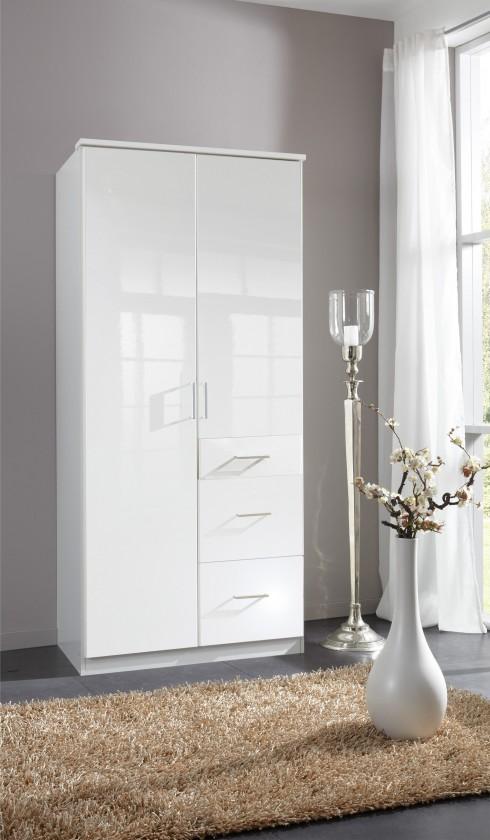 Klasická skříň Clack - Skříň, 2x dveře (bílá, bílá)