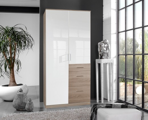Klasická skříň Clack - Skříň, 2x dveře (dub, bílá)