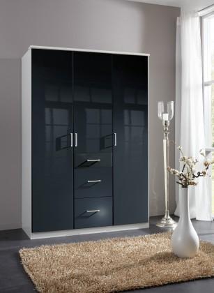 Klasická skříň Clack - Skříň, 3x dveře (černá, bílá)