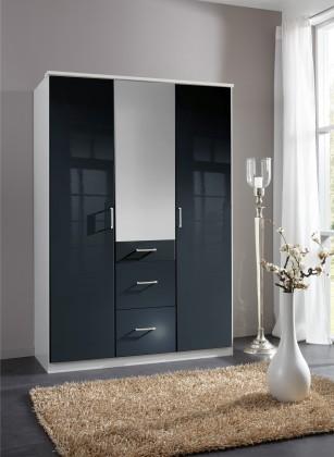 Klasická skříň Clack - Skříň, 3x dveře, zrcadlo (černá, bílá)