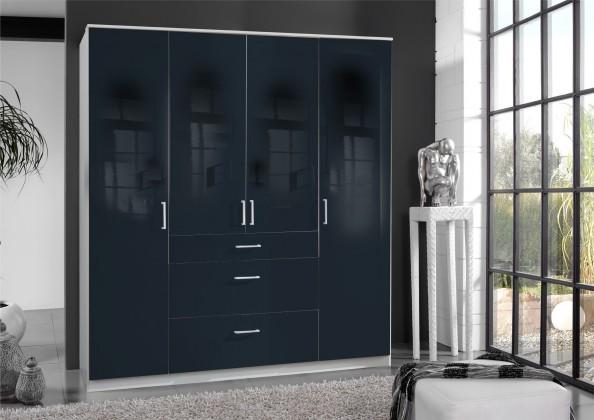 Klasická skříň Clack - Skříň, 4x dveře (černá, bílá)