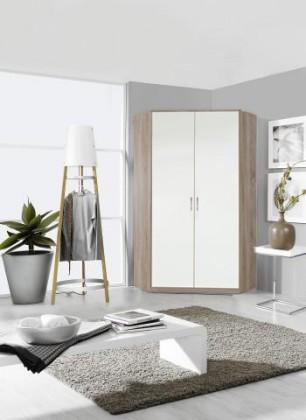 Klasická skříň Clack - Skříň rohová, 2x dveře, (dub, bílá)