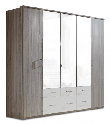Klasická skříň Corfu - Šatní skříň, 5x dveře (dub montana, alpská bílá)