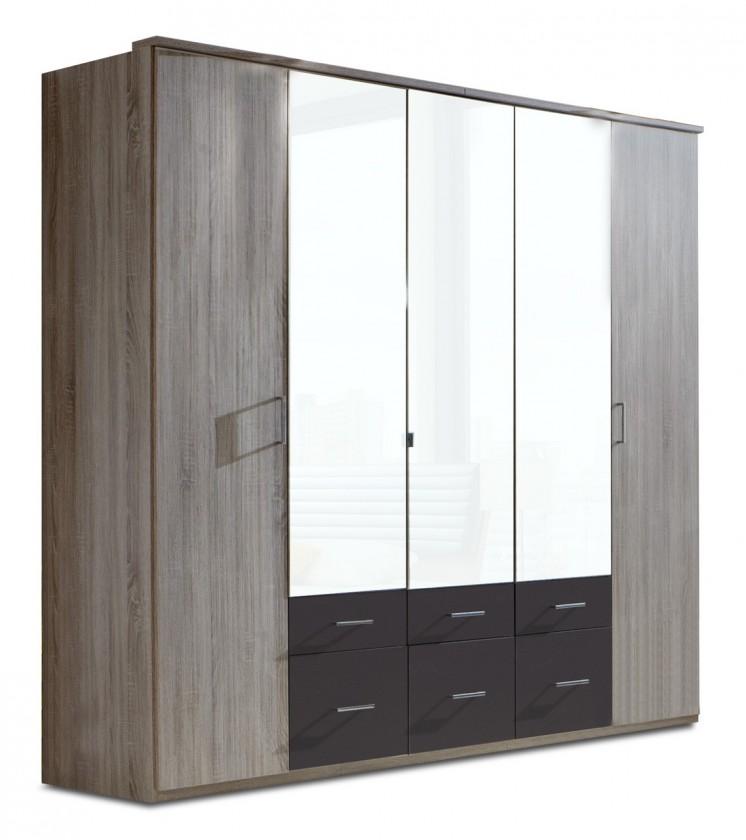 Klasická skříň Corfu - Šatní skříň, 5x dveře (dub montana, lava černá)