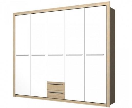 Klasická skříň Cremona PLUS CRMS95 (Jasan coimbra/bílá vysoký lesk)