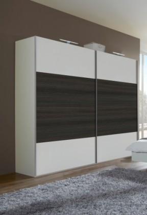 Klasická skříň Dora 769864(alpská bílá, zrcadlo, wenge brasil)