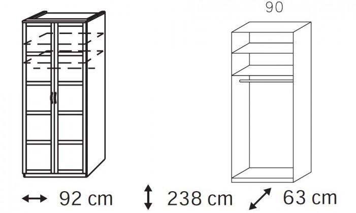 Klasická skříň Elementa A A1006.50S2 (Buk natur/sklo černé)