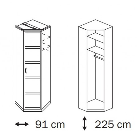Klasická skříň Elementa A A1006.50S5 (Buk natur/sklo černé)