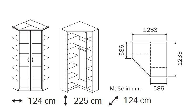 Klasická skříň Elementa A A9186.5075 (Alpská bílá/sklo bílé)