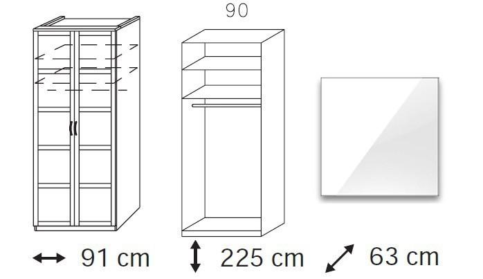Klasická skříň Elementa A A9186.5097 (Alpská bílá/sklo bílé)