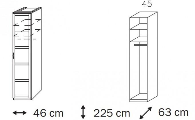 Klasická skříň Elementa A A9186.50R1 (Alpská bílá/sklo bordó)